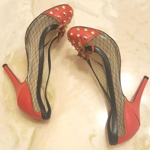 Cristina LouBoutin Red Spike Lace Candy👠